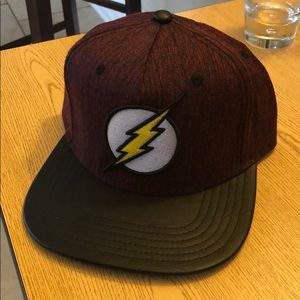 Flash black leather bill SnapBack hat comic red